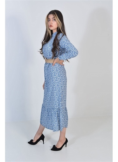 Zeren Kadın Mavi Kalp Desenli Pileli Elbise Mavi